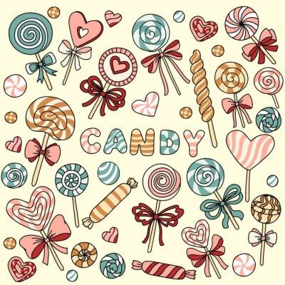 Плакат Векторный набор с конфетами и леденцы