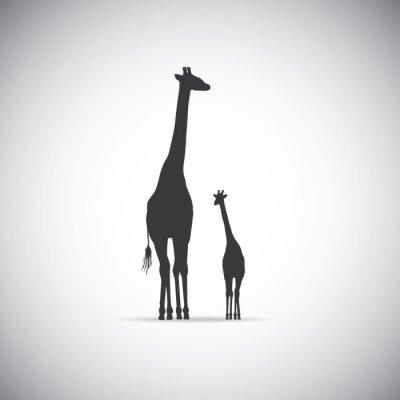 Плакат Вектор силуэт матери жирафа с ребенком