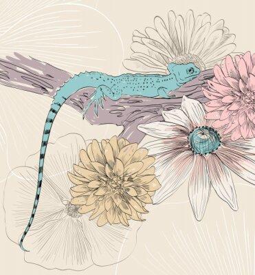 Плакат векторный эскиз ящерицы с симпатичными цветами