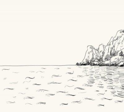 Плакат Вектор летом морской пейзаж эскиз. Море вид и горы