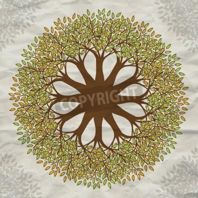 Плакат Vector tree mandala background with grunge paper