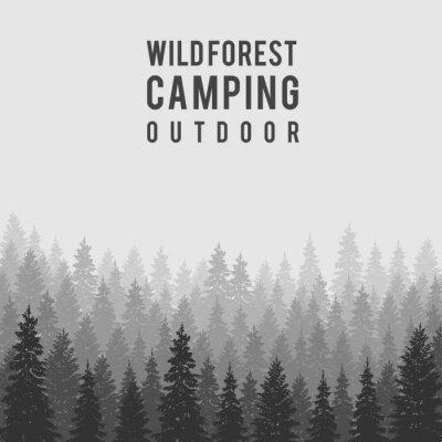 Плакат Вектор дикий хвойный лес фон. шаблон дизайна Открытый кемпинга
