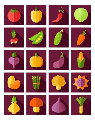 Плакат Овощной плоским значок с длинной тенью