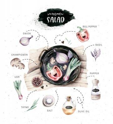 Плакат Vegetables healthy organic watercolor greens menu on black Cast-iron pan with bell pepper, leek, onion and avocado vitamin rosemary illustration. Isolated lettuce and radish. sketch eggplant mushroom.
