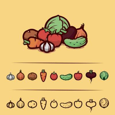 Плакат овощи набор