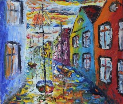 Плакат Венеция лодка с плавающей на улицах, картина маслом