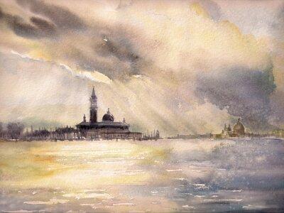 Плакат Венеция, Италия в sunset.Picture создана акварелью.