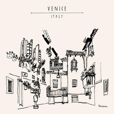 Плакат Венеция Италия Европа старинные рисованной открытку
