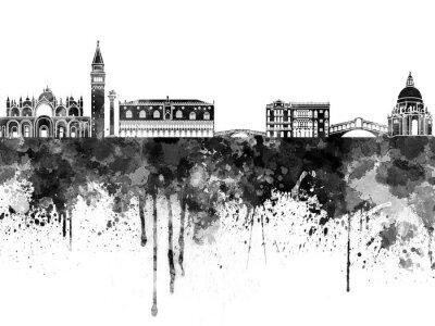 Плакат Венеция горизонт в черном акварель
