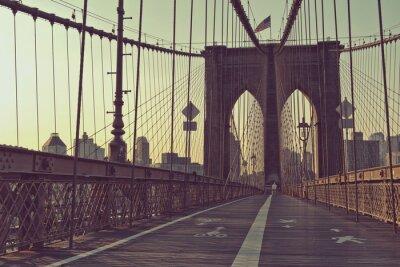 Плакат Вид вдоль пешеходной дорожки, Бруклинский мост