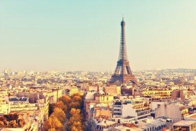 Плакат View on Eiffel tower at sunset