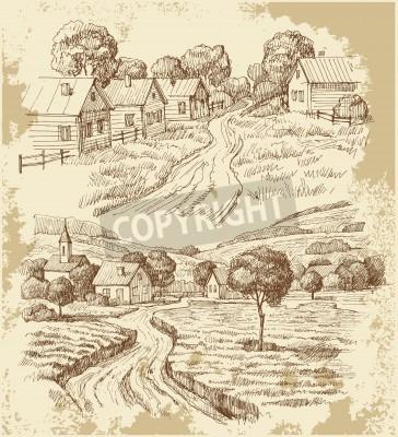 Плакат Деревенские дома эскиз с пищей