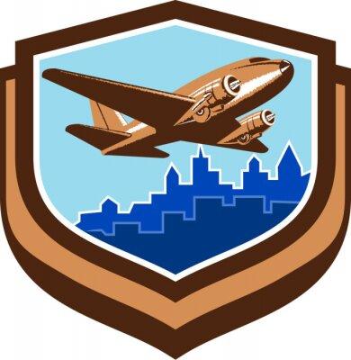 Плакат Урожай Самолет Take Off Cityscape Shield Retro