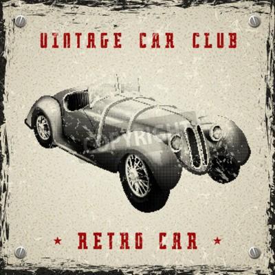Плакат старинный дизайн автомобиля постер с пиксель печати текстуры полутонового точечного растра