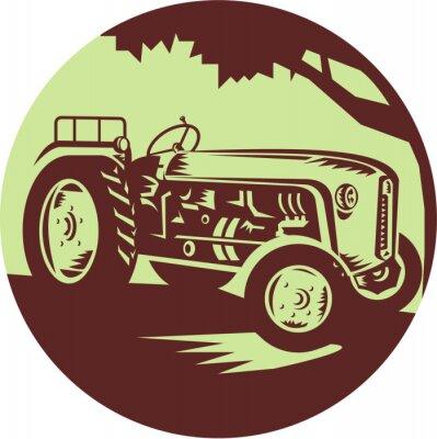 Плакат Урожай Сельскохозяйственный трактор Круг Woodcut