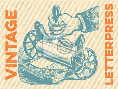 Плакат Урожай Letterpress Вектор
