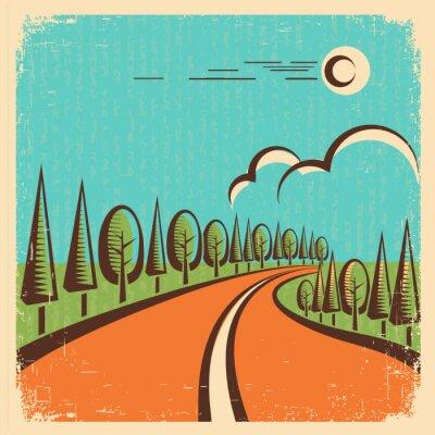 Плакат Урожай Природа пейзаж с дорогой