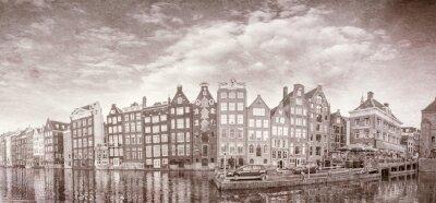 Плакат Старинные фото Амстердама зданий