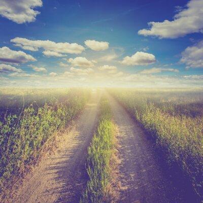 Плакат Старинные фото поле и голубое небо