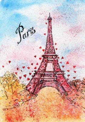 Плакат старинные открытки. акварель иллюстрации. Париж, Франция, Эйфелева башня