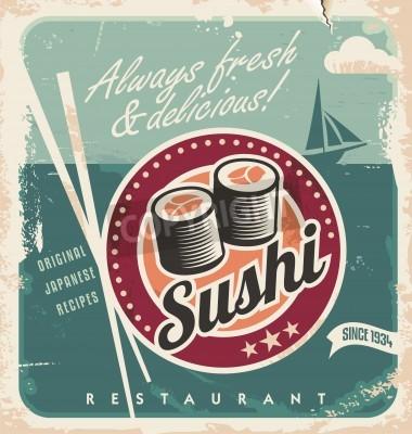 Плакат Старинные плакат для японского ресторана. Ретро фон с суши рулонах.