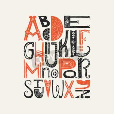 Плакат Винтажный плакат с уникальными буквами латинского алфавита. Векторный шрифт или типографический дизайн.