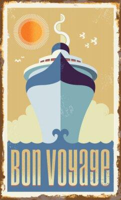 Плакат Урожай ретро вектор круизное судно дизайн - металлический знак плакат