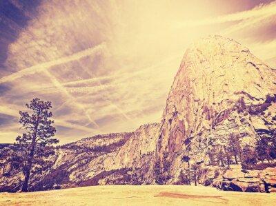 Плакат Vintage stylized nature mountain background, USA.