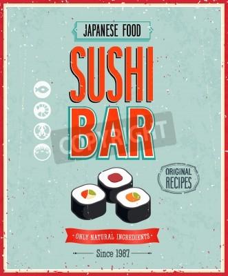 Плакат Vintage Sushi Bar Poster.