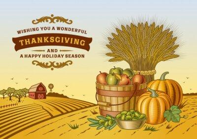Плакат Урожай Благодарения Пейзаж