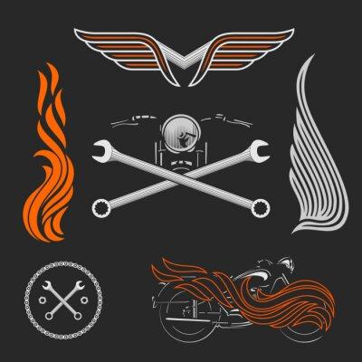 Плакат Урожай векторный мотоцикл логотипы, эмблемы, шаблоны, этикетки, символы и элементы дизайна мотоциклов.