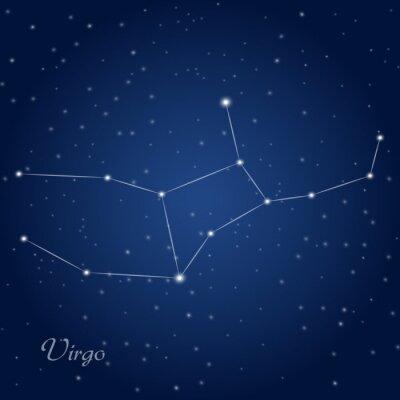 Плакат Созвездие Девы знак зодиака на звездное ночное небо