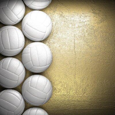 Плакат Волейбол мяч и золотой фон стены