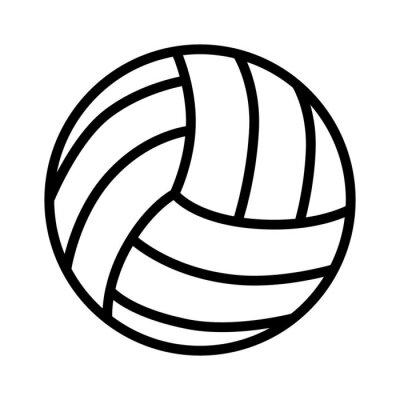 Плакат Волейбол мяч значок линии искусства для спортивных приложений и веб-сайтов