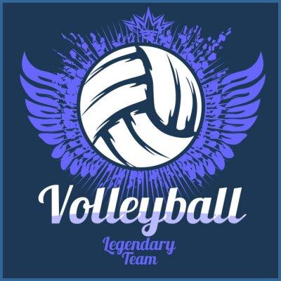 Плакат Волейбол Чемпионат логотип с мячом - векторные иллюстрации.