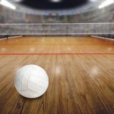 Плакат Волейбольная площадка с мячом на деревянный пол и копирования пространство