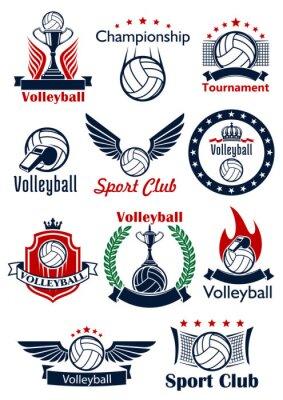 Плакат Волейбол игра значки, эмблемы и символы
