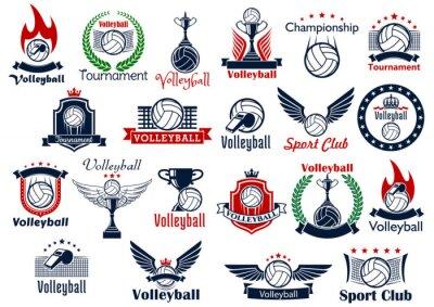 Плакат Волейбол спортивные игры иконки и символы