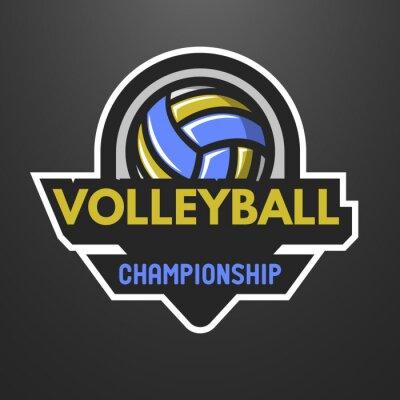 Плакат Волейбол спорта логотип, этикетка, эмблема.