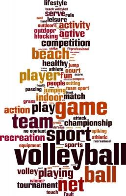 Плакат Волейбол Концепция слово облако. Векторная иллюстрация