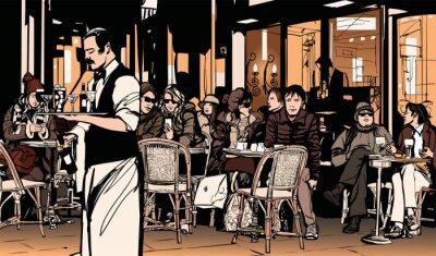 Плакат Официант обслуживает клиентов в традиционной наружной парижском кафе