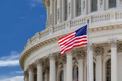 Плакат Вашингтон, округ Колумбия Капитолийском подробно на облачное небо