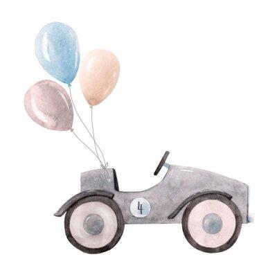 Плакат Watercolor baby car illustration