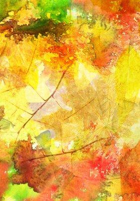 Плакат Акварель фон с осенними листьями