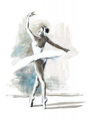 Плакат Акварель Балерина Ручная роспись Балерина Иллюстрация