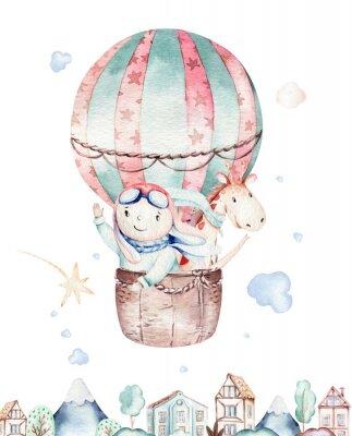 Плакат Watercolor balloon set baby cartoon cute pilot aviation illustration. sky transport balloons with giraffe and elephant, koala, bear and bird, clouds. childish baby boy shower illustration
