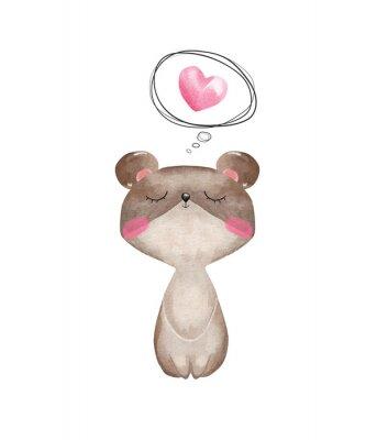 Плакат Watercolor bear in love. Valentine's Day greeting card