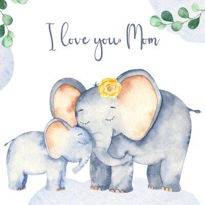 Плакат Watercolor card with cute cartoon Mother's Day elephants