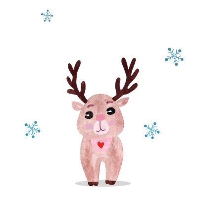 Плакат Watercolor christmas illustration with holiday deer