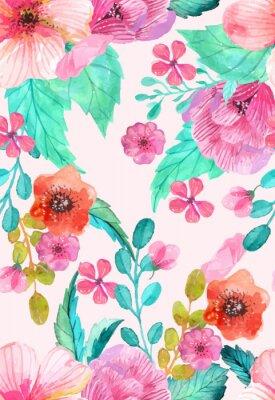 Плакат Акварель цветочные бесшовные узор